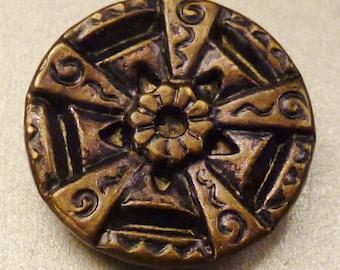 VICTORIAN BUTTON STEEL and Brass Star Flower design  design 5/8 in