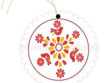 Pyrex Friendship Pattern Circle Hang Tags --Set of Four