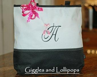 Girls personalized dance bag ballet bag with applique dance shoes