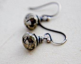Pyrite Earrings, Drop Earrings, Wire Wrapped, Dangle Earrings, Fools Gold, Sterling Silver, Antiqued, Metallic Earrings, PoleStar