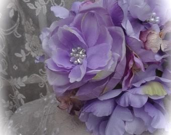 Marie Antoinette Lilac/Lavender Floral Brooch Bridesmaid Bouquet