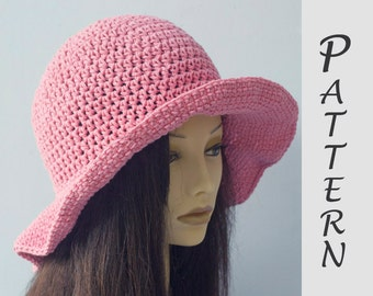 Wide Brim Sun Hat Crochet Pattern,  Hat Pattern,  Easy Pattern, Instant Download, Summer Hat PDF Pattern