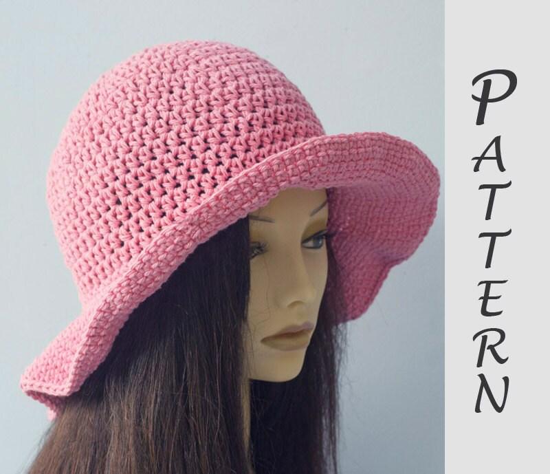 Easy Crochet Summer Hat Pattern Free : Wide Brim Sun Hat Crochet Pattern Hat Pattern Easy