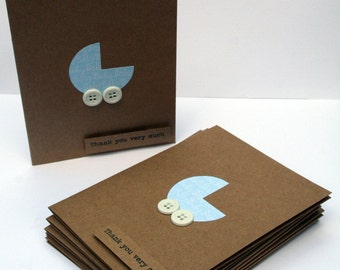 """Baby Shower Thank You Cards - Baby Boy Thank You Cards - Kraft Thank You Cards - Thank you Cards - Blue """"Baby"""" Thank You Cards - 10"""