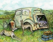 The Holiday - Whippet  Art print
