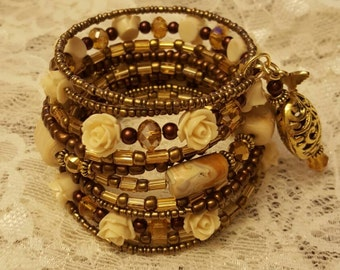 Precious Stone Gold Memory Wire Bracelet