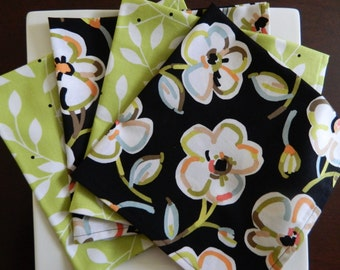 Black and Lime Green Dinner Napkins. Set of 4 Mixed Patterns. Floral Napkins. Bridal Shower, Wedding, or Hostess Gift