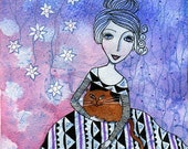Kitty. Art print from my watercolour painting, wall art, A4, cat art,