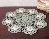 Hand Made Crochet Doily - Moss Green with White and Yellow Daisies