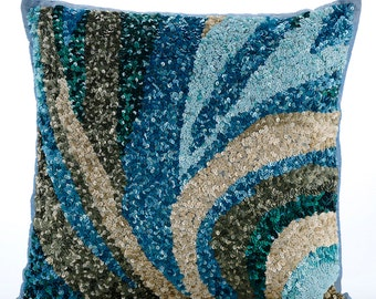 """Luxury  Light Blue Accent Pillows, Sequins Sea Waves Ocean & Beach Theme Pillows Cover Square  18""""x18"""" Silk - Waves Are Scenic"""