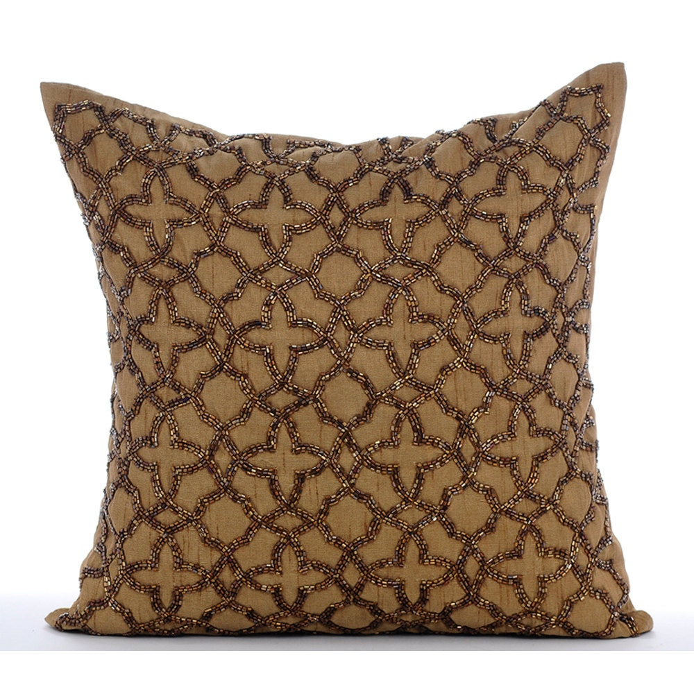handmade pillows handmade gold throw pillow covers 16x16 silk 1135