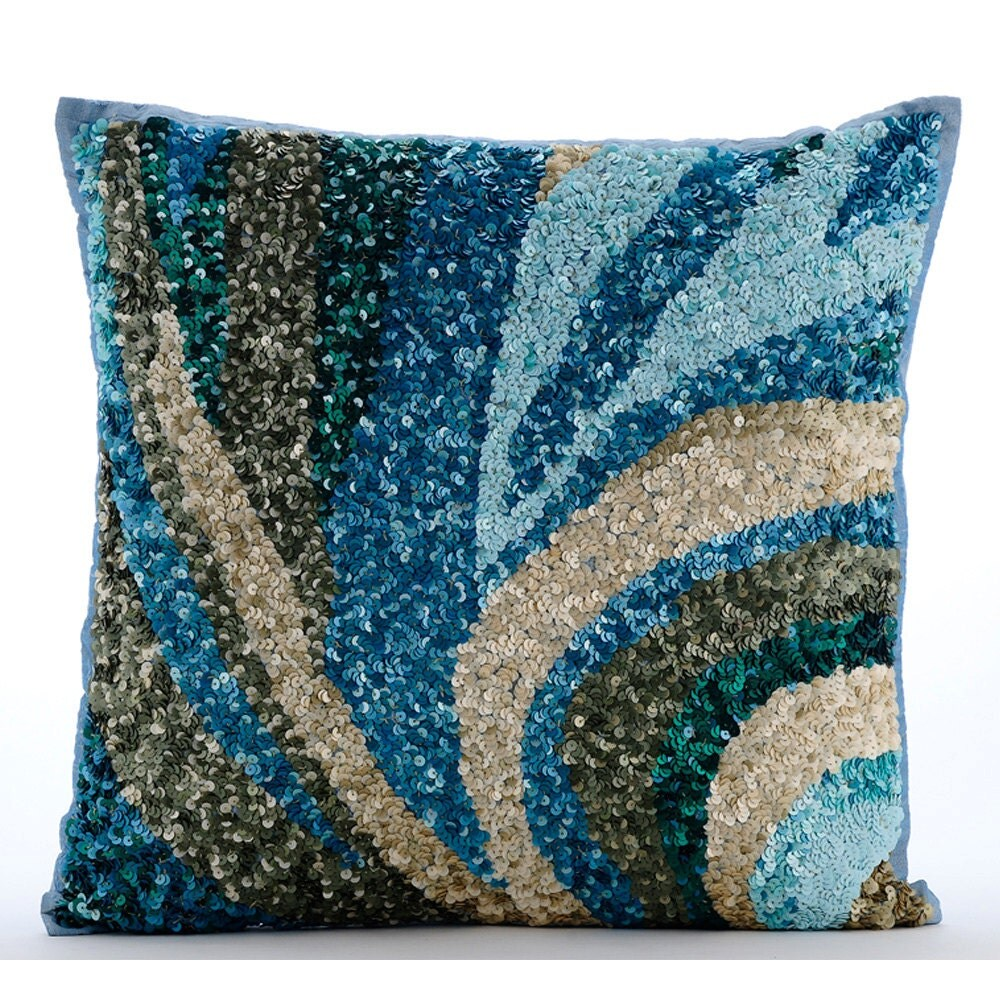 Throw Pillows Like Anthropologie : Luxury Light Blue Accent Pillows Sequins Sea Waves Ocean