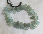 Natural Aquamarine Briolette Beads Untreated Moss Gemstone 9 Inches 9mm to 12mm