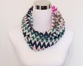 Multi Color Chevron Cotton Spandex Knit Infinity Scarf Navy Pink Green Tan Cream