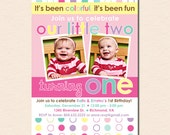 Colorful Fun Year - Twin Girls First Birthday Party Invitation (Digital File OR Printed Cards Also Available)