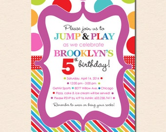 Jump, Play and Bounce Party - Polka Dots & Stripes - Birthday Party Invitation (Digital File OR Cardstock Printed Cards Also Available)