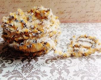 Golden Yellow Tulle Tutu Lace Fringe Trim -mixed media fiber art supply, millinery needlework, vintage style novelty edging, ruffle trimming