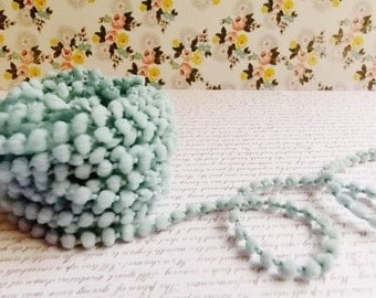 Pastel Blue Mini Pom Pom Trim ~doll clothes supply, baby kids wedding hair bow band embellishment, scrapbook gift wrap tiny novelty garland