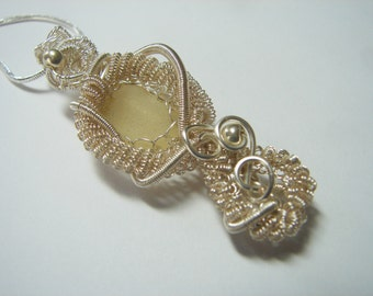 Sea Glass Seaglass  Pendant- Rare Yellow Sea glass Sterling and Fine Silver Wrapped and Woven Sculpted Wire