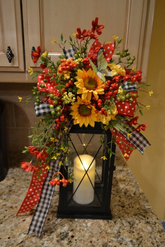 Summer sunflower lantern swag by kristenscreations on etsy