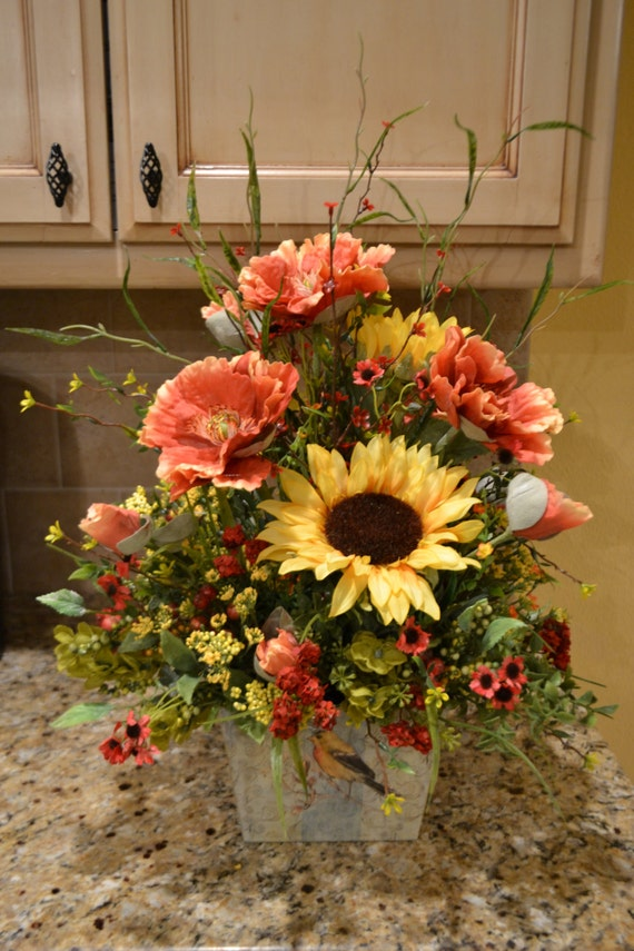 Summer sunflower and poppy arrangement