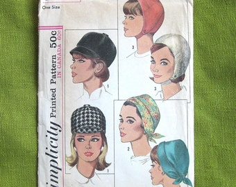 1960s Vintage Hat Sewing Pattern - Womens HATS - Jockey Hat Chin Strap Helmet Hat - Simplicity 6191 // One Size