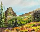 WILDFLOWER TRAIL Framed Original Oil Painting Art Buck Mountain Scenic Nature Flowers Hike Hiking Backpacking Grand Tetons Alaska Basin
