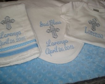 Lorenzo Personalized Baptism Blanket Bodysuit/Gown/Onesie and Burp Cloth christening Gift Set  - Choice of Name and/or upto 3 Initials
