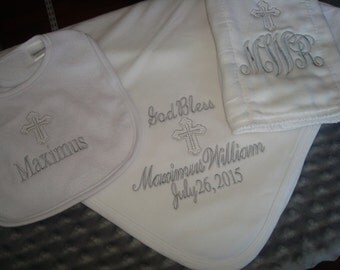 Maximus Personalized Baptism Blanket Bib and Burp Cloth christening Gift Set  - Choice of Name and/or upto 3 Initials