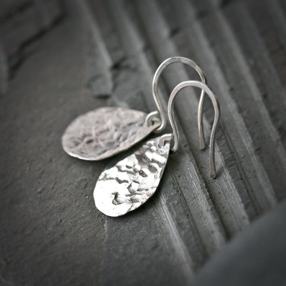 Raindrops - Hammered Sterling Silver Earrings