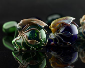 Squid Glass  Pipe / Churchwarden / Glass Gandalf Pipe / Boro Pipe / Hand Blown Pipe / Pyrex Pipe / You Choose the Color / Made to Order