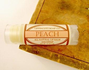 Peach Lip Balm - All Natural Lip Balm - Unsweetened Lip Balm - Phthalate Free - Fruit Lip Balm - Beeswax Lip Balm - Gift for Her