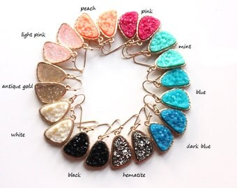 Druzy earrings - rich color - pick your color - SALE