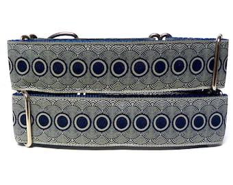 """1.5"""" wide Martingale Dog Collar NAVY PORTHOLE, Safety Collar, Greyhound Collar, Sighthound Collar, Adjustable, Training Collar"""