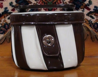 Hat Box Purse 1950s brown and cream stripes