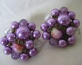 Purple Cluster Earrings Clip Bead Vintage