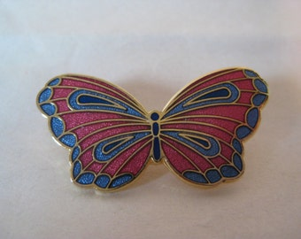 Butterfly Enamel Brooch Blue Pink Gold Vintage Pin