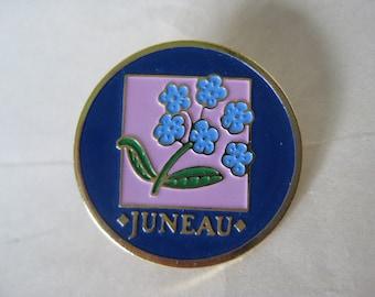 Juneau Tie Tack Brooch Pin Flower Pink Blue Gold Vintage