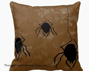 Spider invasion toss pillow widow made to order spiders pillow horror decor black and brown 16x16