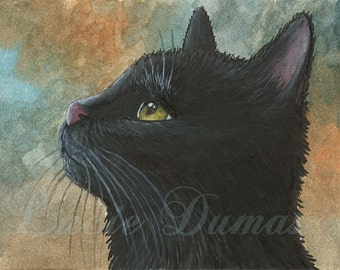 Art print 4x6 or 5x7 black Cat 545 from art painting by Lucie Dumas