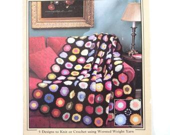 Vintage 1990's Scrap Yarn Afghans Pattern Booklet Pamphlet from Leisure Arts