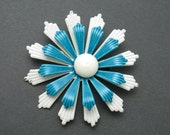 Vintage Flower Brooch Large Layered Blue Jewelry P6613