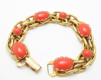 Vintage Wide Chain Bracelet Red Orange Wide Double Chain Jewelry B6591