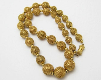 Vintage Bead Necklace Metal Beads on Chain N6598