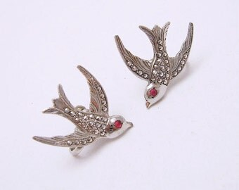 Sterling Marcasite Bird Earrings Bridal Garden Vintage Jewelry E6639