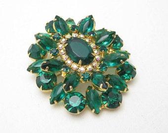 Large Green Rhinestone Brooch Vintage Jewelry P6652