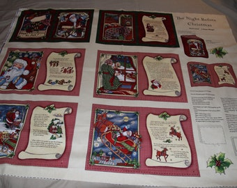 The Night Before Christmas Soft Book Fabric Panel - not a premade book - fabric - smoke and pet free
