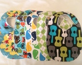 Baby boy gift set 5 bibs with minky backing and snap closures READY TO SHIP