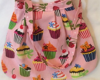 Her First Mod Purse in Robert Kaufman pink cupcakes Petal Sweet Tooth READY TO SHIP