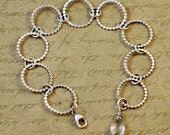 Sterling silver bracelet, rings, beaded, scalloped, lay flat, crystal quartz, diamond, April, gemstone, lobster clasp, rustic, hammered